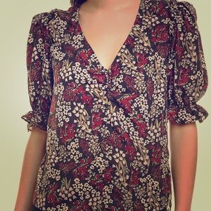 NWT Joie Anevy silk floral blouse, size S